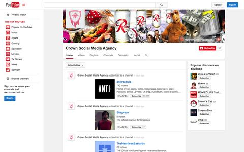 Screenshot of YouTube Page youtube.com - Crown Social Media Agency  - YouTube - captured Oct. 23, 2014