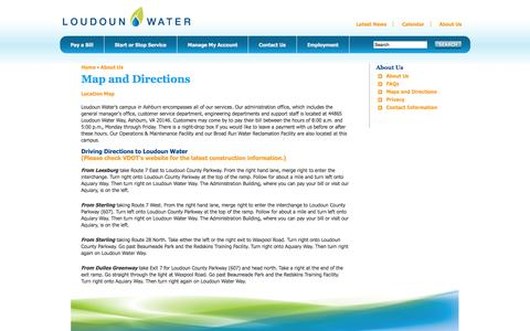 Screenshot of Locations Page loudounwater.org - Loudoun Water - captured Sept. 22, 2014