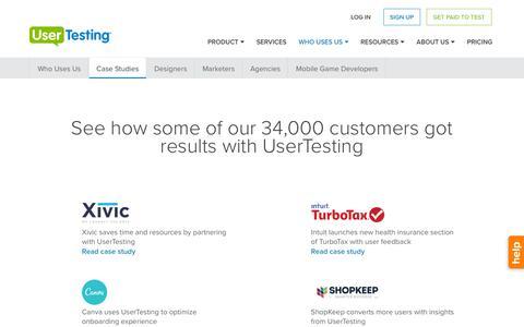 Screenshot of Case Studies Page usertesting.com - UserTesting Case Studies - captured July 4, 2016