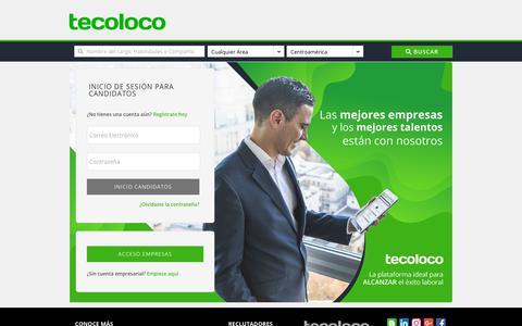 Screenshot of Login Page tecoloco.com - Bolsa de trabajo y Ofertas de empleo - Ingreso de candidatos - Tecoloco.com - captured Dec. 16, 2018