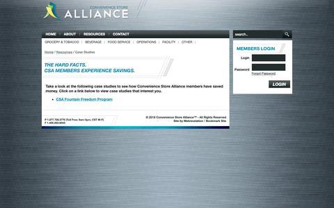 Screenshot of Case Studies Page cstorealliance.com - CSA Case Studies - captured Sept. 29, 2018
