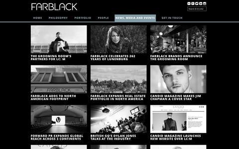Screenshot of Press Page farblack.com - News, Media and Events | FARBLACK - captured Feb. 9, 2016