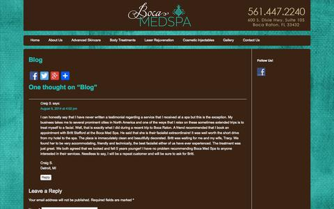 Screenshot of Blog bocamedspa.com - Blog | Boca Med Spa - Spa in Boca Raton | Boca Med Spa - captured Sept. 30, 2014
