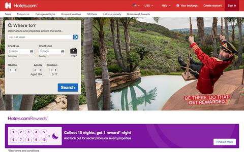 Screenshot of Home Page hotels.com - Hotels.com - Deals & Discounts for Hotel Reservations from Luxury Hotels to Budget Accommodations - captured Jan. 16, 2020