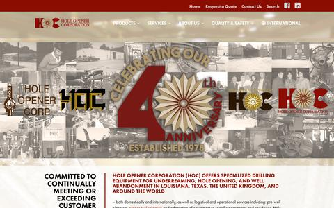 Screenshot of Home Page holeopener.com - Hole Opener Corp - Specialized Drilling Equipment - Lafayette - captured Nov. 10, 2018