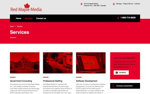 Screenshot of Services Page redmaplemedia.com - Services – Red Maple Media - captured Oct. 19, 2018