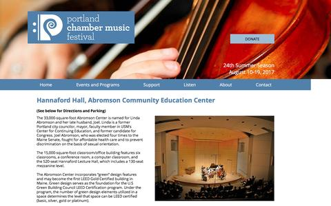 Screenshot of Maps & Directions Page pcmf.org - Portland Chamber Music Festival   Venue, Directions and Parking - captured Nov. 9, 2016