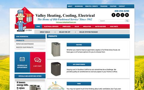 Screenshot of Products Page valleyheating.com - Products - captured Feb. 12, 2016