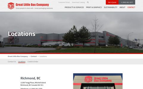 Screenshot of Locations Page glbc.com - GLBC | Custom Boxes & Packaging Solution Locations - captured Sept. 24, 2018