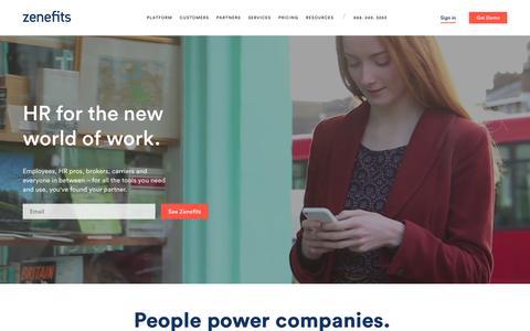Screenshot of Home Page zenefits.com - #1 HR Software | Human Capital Management (HCM) | Zenefits - captured Sept. 22, 2017