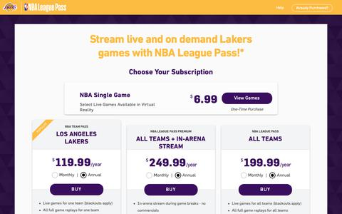 Screenshot of Pricing Page nba.com - Watch Los Angeles Lakers games live with NBA League Pass - captured Nov. 1, 2018