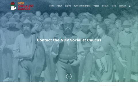 Screenshot of Contact Page ndpsocialists.ca - Contact - NDP Socialist Caucus - captured Feb. 16, 2016