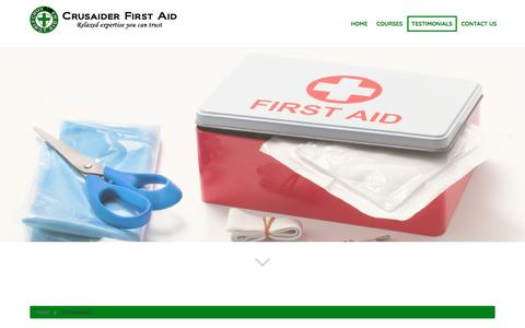 Screenshot of Testimonials Page crusaiderfirstaid.com - Testimonials | First Aid Training Course in Upminster, Essex | Crusaider First Aid - captured May 22, 2017