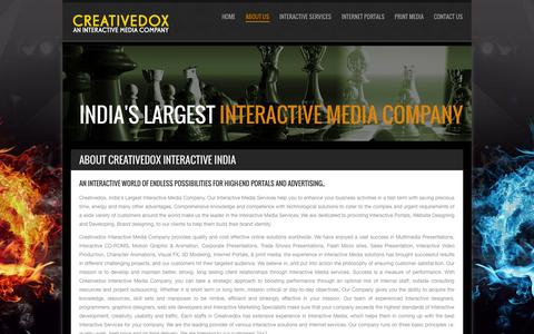 Screenshot of About Page creativedox.com - India's Largest Interactive Media Company, Interactive India. - captured Sept. 30, 2014