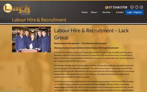 Screenshot of Services Page lackgroup.com.au - Labour Hire | Recruitment | Traffic Management - Lack Group - captured Dec. 6, 2015