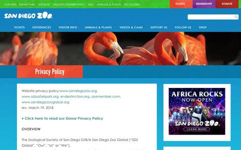 Screenshot of Privacy Page sandiegozoo.org - Privacy Policy | San Diego Zoo - captured May 17, 2018