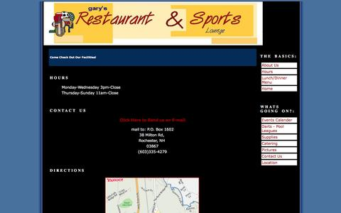 Screenshot of Contact Page Hours Page garys-rsl.com - Gary's Restaurant and Lounge - Hours - captured Jan. 28, 2017