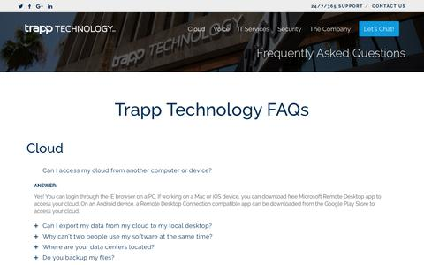 Frequently Asked Questions | Trapp Technology
