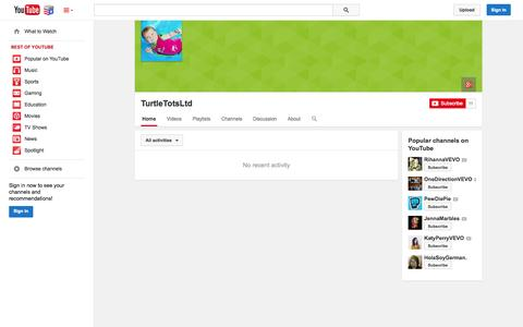 Screenshot of YouTube Page youtube.com - TurtleTotsLtd  - YouTube - captured Nov. 5, 2014
