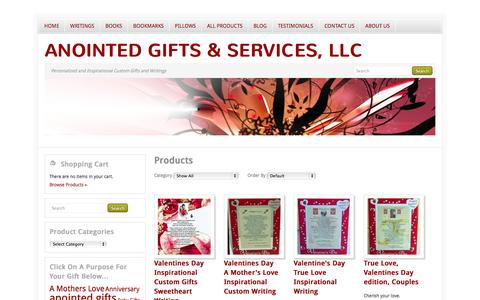 Screenshot of Products Page anointedgifts.net - Products | Anointed Gifts & Services, LLC - captured Oct. 4, 2014