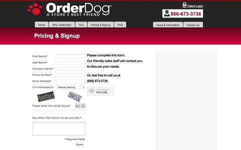 Screenshot of Signup Page orderdog.com - Pricing & Signup - Order DogOrder Dog - captured Oct. 19, 2017