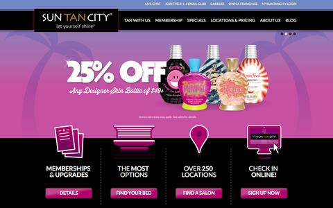 Screenshot of Home Page suntancity.com - Sun Tan City - Tanning Salons Near Work and Home - captured Oct. 31, 2015