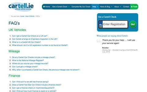 Screenshot of FAQ Page cartell.ie - FAQ's - Cartell Car Check - captured Dec. 5, 2015