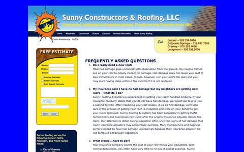 Screenshot of FAQ Page sunnyroofing.com - Colorado Springs Roofing | FAQ - captured Oct. 1, 2014