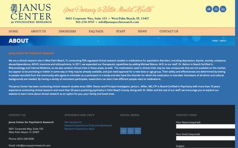 Screenshot of About Page januspsychresearch.com - About | Janus Center for Psychiatric Research – West Palm Beach - captured Oct. 6, 2014