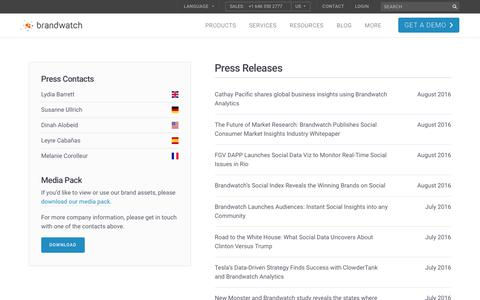 Screenshot of Press Page brandwatch.com - Press Releases | 4/10 | Brandwatch - captured Oct. 20, 2017