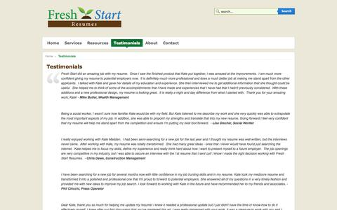 Screenshot of Testimonials Page freshstartresumes.com - Fresh Start Resumes - Testimonials - captured Oct. 6, 2014