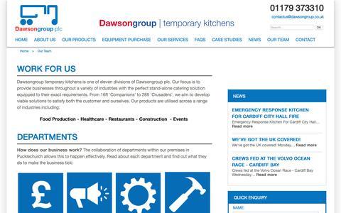 Screenshot of Team Page dawsonrentalstemporarykitchens.co.uk - Our Team | Working at Dawsongroup - captured Nov. 6, 2018
