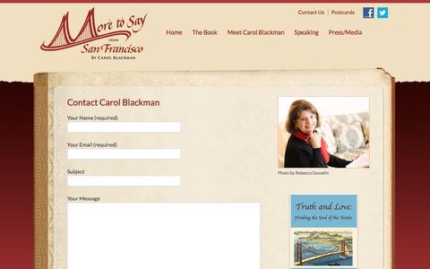 Screenshot of Contact Page moretosayfromsf.com - Contact Carol Blackman | More to Say from San Francisco - captured May 21, 2016