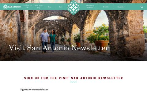 Screenshot of Signup Page visitsanantonio.com - Newsletter - captured Dec. 12, 2018