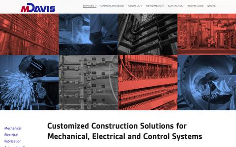 Screenshot of Services Page mdavisinc.com - M. Davis & Sons | Industrial Construction, Fabrication & Maintenance | 1-800-91DAVIS | M Davis Inc. - captured Oct. 1, 2018
