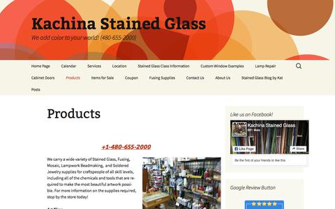 Screenshot of Products Page kachinastainedglass.com - Products | Kachina Stained Glass - captured July 13, 2019