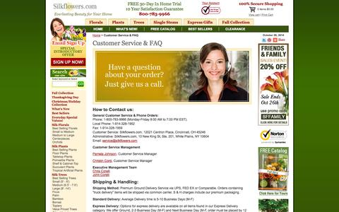Screenshot of Contact Page Support Page silkflowers.com - Customer Service & FAQ - captured Oct. 26, 2014