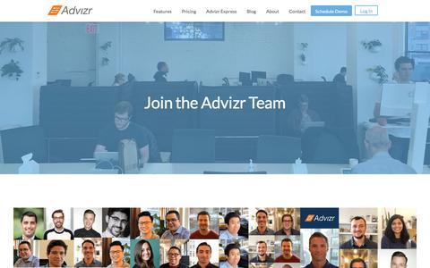Screenshot of Jobs Page advizr.com - Advizr Careers and Jobs - captured March 16, 2018