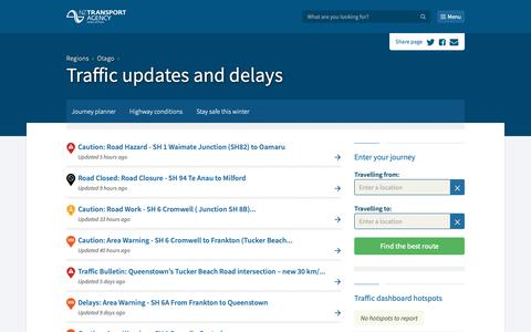 Screenshot of Menu Page nzta.govt.nz - Traffic updates and delays - captured Oct. 23, 2018