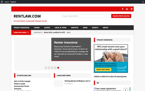 Screenshot of Home Page rentlaw.com - RentLaw.com | The National Landlord Tenant Guide - captured Oct. 31, 2017