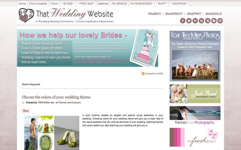 Screenshot of Home Page thatweddingwebsite.com.au - Recent blog posts - Wedding Planning, Weddings Australia, Weddings USA, Weddings UK, Wedding NZ, Wedding Ideas and Inspiration, Gowns, Invitations, Cakes, Venues, Photographers - That Wedding Website - TWW Blogs - captured Sept. 25, 2014