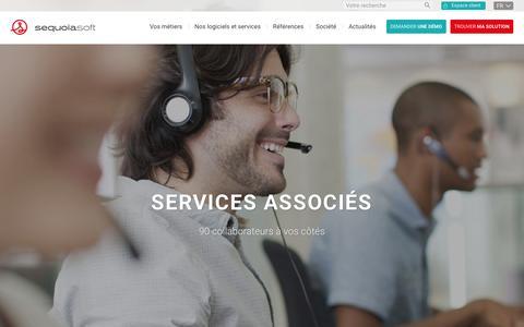 Screenshot of Services Page sequoiasoft.com - Les services Sequoiasoft : Editeur de logiciels de gestion - captured March 9, 2016