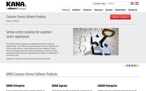 Screenshot of Products Page kana.com - Customer Service Software Products | KANA - captured Nov. 20, 2016
