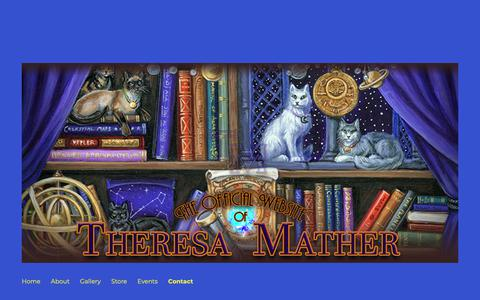 Screenshot of Contact Page rockfeatherscissors.com - Contact – The Official Website of Artist: Theresa Mather - captured Oct. 26, 2018