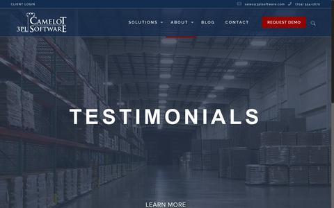 Screenshot of Testimonials Page 3plsoftware.com - Camelot 3PL Software Customer Testimonials - captured April 22, 2018