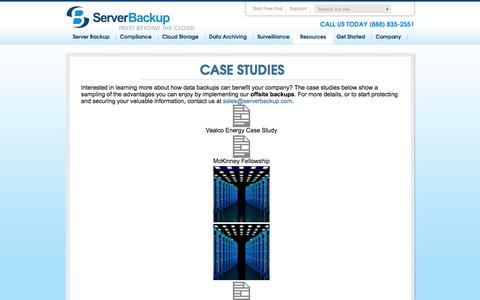 Screenshot of Case Studies Page serverbackup.com - Offsite Data Backup Case Studies | ServerBackupServer Backup - captured Sept. 30, 2017