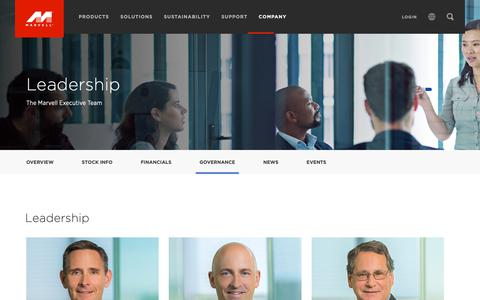 Screenshot of Team Page marvell.com - Company - Leadership - Marvell - captured Dec. 17, 2018