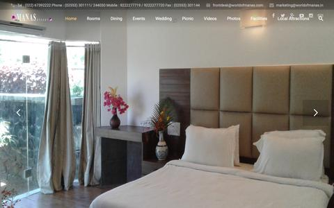 Screenshot of Home Page manasresort.in - Manas Resort ~ A Different Level - captured Nov. 19, 2016