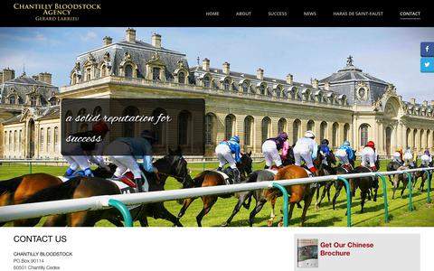 Screenshot of Contact Page chantillybloodstock.com - Contact - Chantilly Bloodstock Agency - captured July 17, 2018