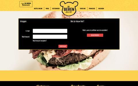 Screenshot of Login Page bezorgbeer.nl - Online eten bestellen doe je bij de Bezorgbeer - captured Oct. 3, 2016